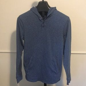 New Men's medium blue long sleeve hoodie shirt